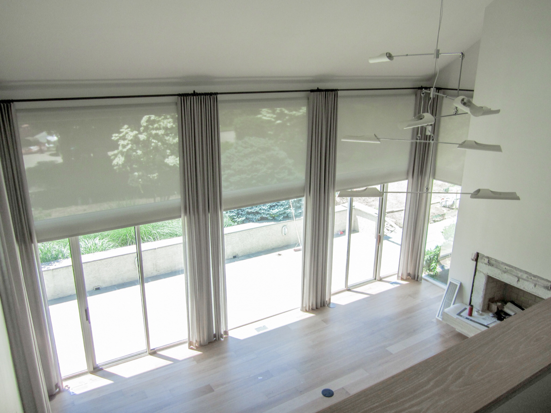 How do motorized shade drapery work smart home for Motorized blinds shades